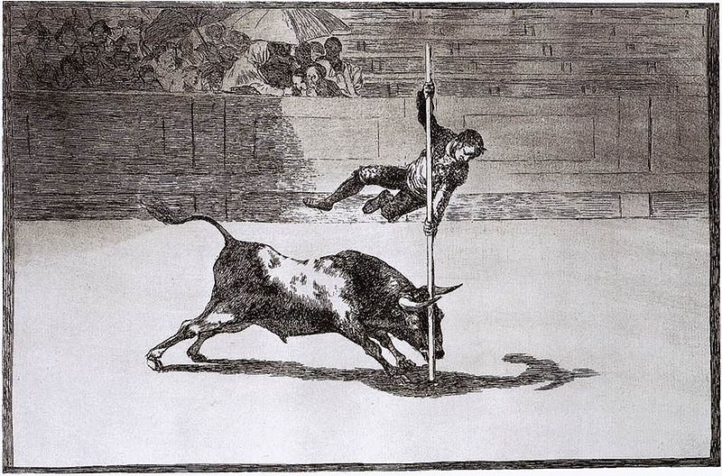 French bull-leaping. Painting by Francisco Goya